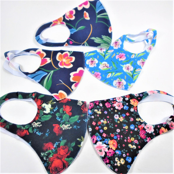 Mixed Floral Print Face Masks  Washable & Reusable 12  per pk  .565 ea