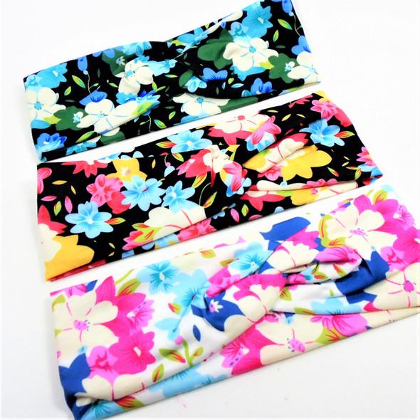 "Trendy 3""  Flower Print Theme Stretch Headbands (5684)  12 per pk .58 each"
