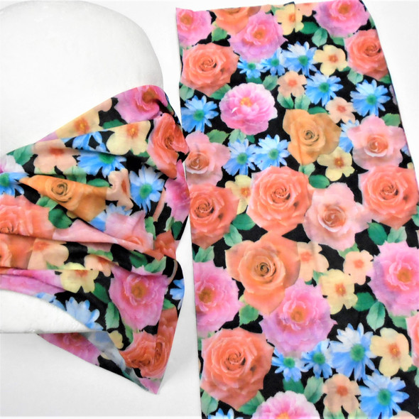 Multifunction Face Mask Scarf Flower Print (60190C)  12 per pk .75 each
