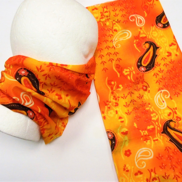 Multifunction Face Mask Scarf New Fashion Print Orange/Red (60189F)  12 per pk .75 each
