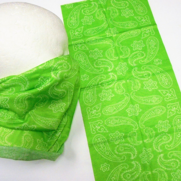Multifunction Face Mask Scarf Royal Lime Green Paisley Print   (60193F)  12 per pk .75 each