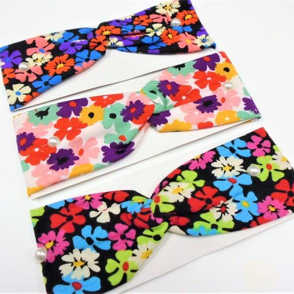 "3"" New Groovy Flower  Pattern  Stretch Headbands   12 per pk   .58 each"