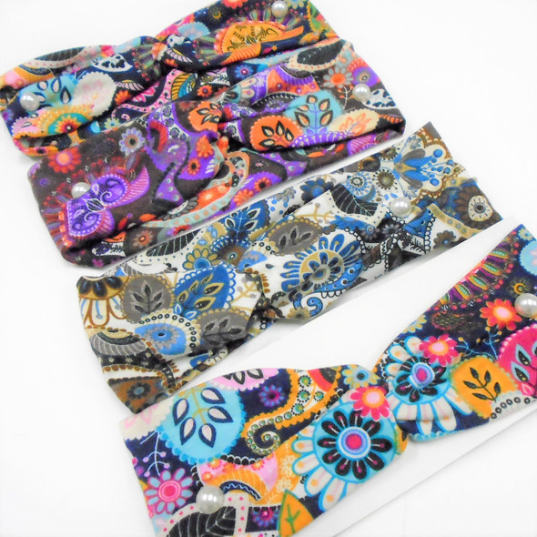 "3"" New Cool Multi Pattern Print Stretch Headbands   12 per pk   .56 each"