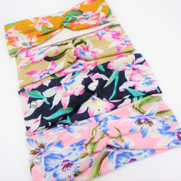 "3"" New Cool Hawaiian Flower  Print Stretch Headbands   12 per pk   .56 each"
