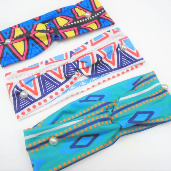 "3"" New Cool Aztec  Pattern  Stretch Headbands   12 per pk   .56 each"