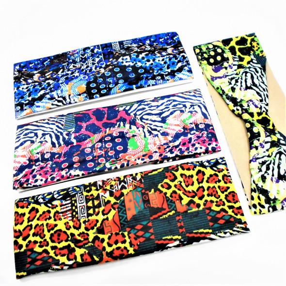 "3.25"" Multi  Pattern Print Stretch Headbands  12 per pk   .56 each"