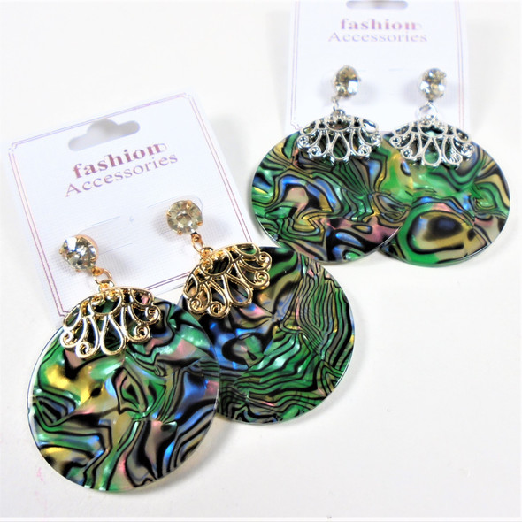"""1.5"""" Round Gold & Silver  Top Abalone Shell Look Earring w. Cry. Stone 60 per pair"""