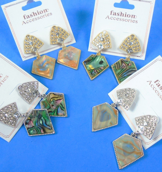 "1.5"" Gold & Silver  w/ Cry. Stone Abalone Shell Look Earrings .65  per pair"