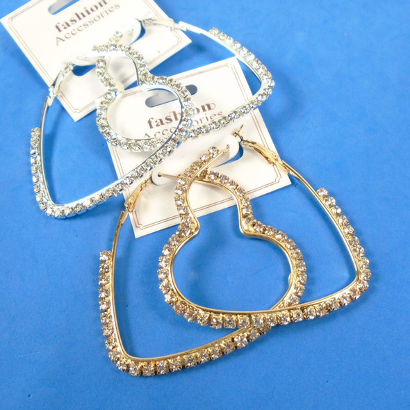 "CLASSY 2.5"" Gold & Silver Heart Hoop Earrings w/ Rhinestones .58 per pair"