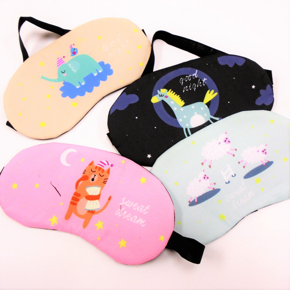 "4"" X 8"" Cute Animal Theme Sleeping Masks w/ Elastic Back (311)  .60 each"
