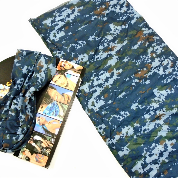 Carded Multifunctional Scarf/Headwear/ Mask  Blue Digital Camo   .66  each