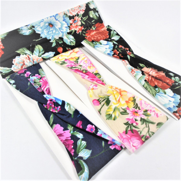 "3"" Floral Print Theme  Stretch Headbands (91)  12 per pk   .56 each"