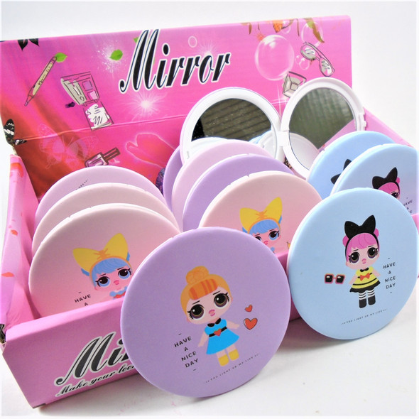 Have a Nice Day Girly  Theme Round DBL Compact Mirror in Display (4) .60  each