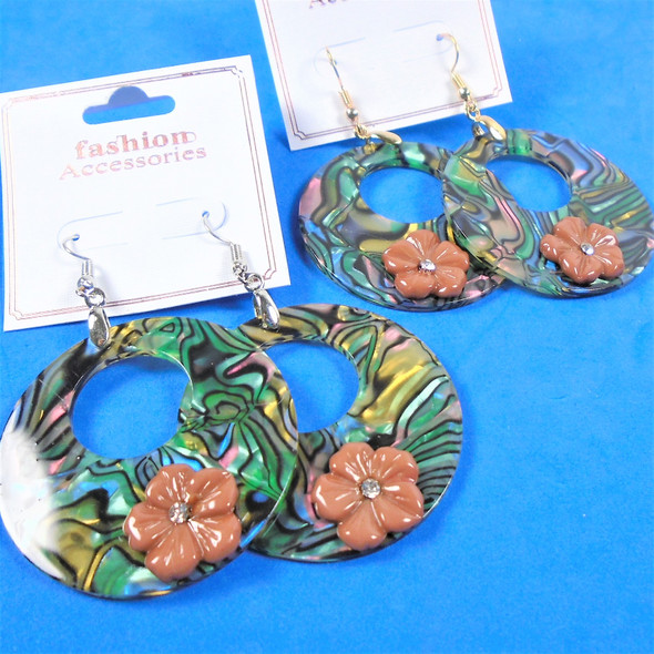 "1.75"" Round  Abalone Shell Look Earring w. Flower & Stone 54 per pair"