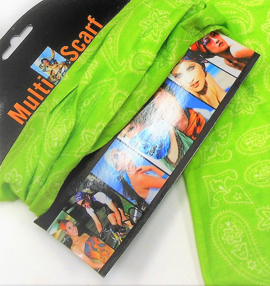 Carded Multifunctional Scarf/Headwear/ Mask  NEON Green Bandana Print   .60  each