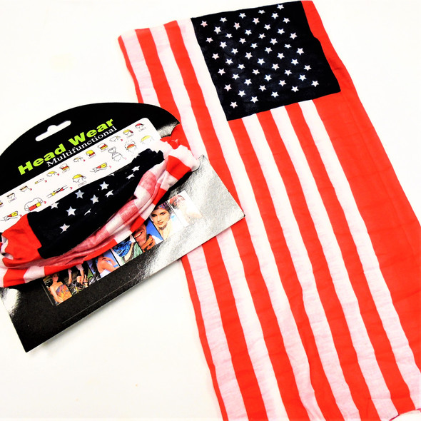 Carded Multifunctional Scarf/Headwear/ Mask USA Flag Theme   .66  each