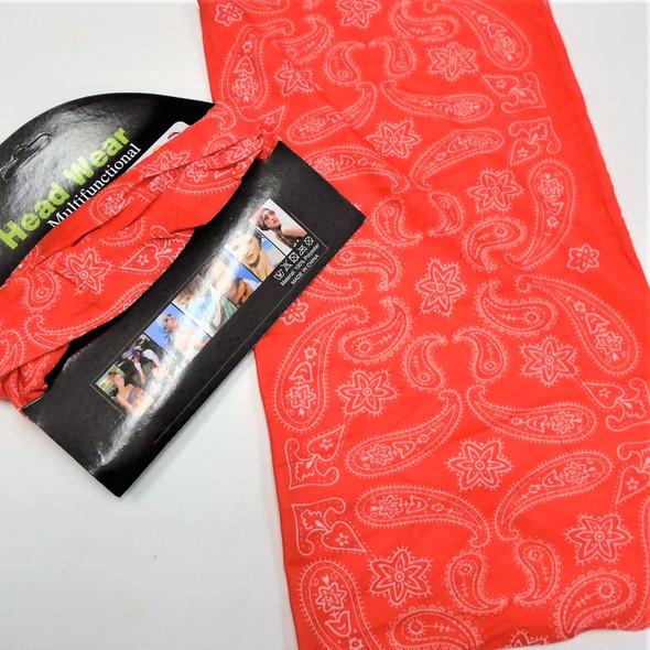 Carded Multifunctional Scarf/Headwear/ Mask  All Red Bandana Print   .66  each