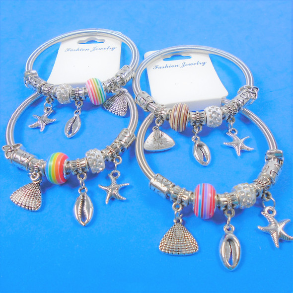 All Silver Spring Style Bracelet w/ Color Beads & Nautical Charms .58 each