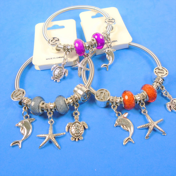 All Silver Spring Style Bracelet w/ Color Beads & Nautical Charms .58 ea
