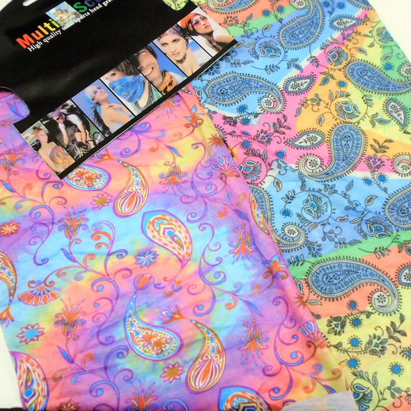 Carded Multifunctional Scarf/Headwear /Face MASK Tye Dye Paisley   .66  ea