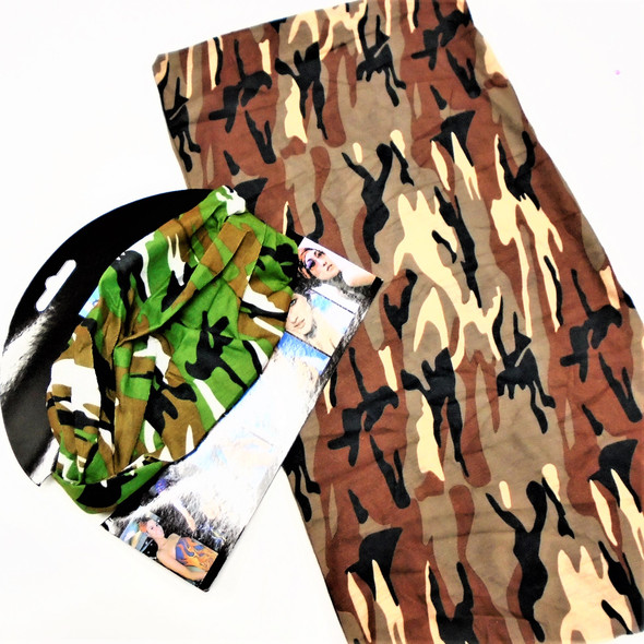 Carded Multifunctional Scarf/Headwear/ Mask Desert  Camo Colors   .66  each