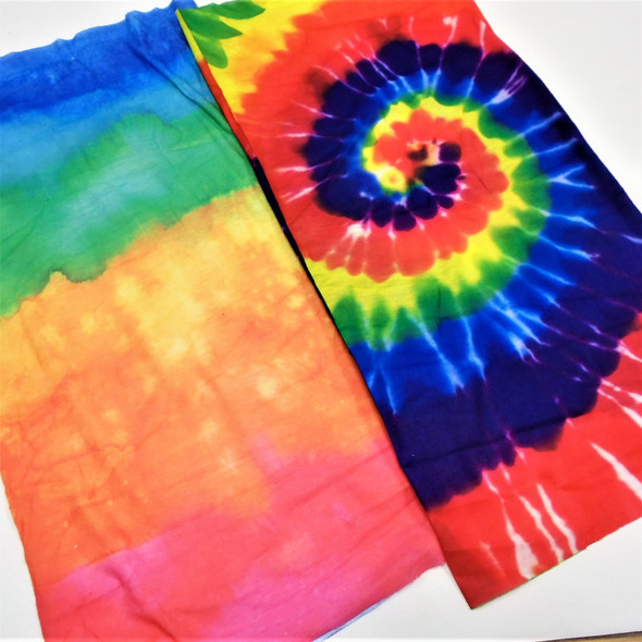 Carded Multifunctional Scarf/Headwear /Face MASK Tye Dye Color Group  .60 ea