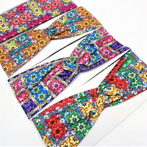 "3"" Multi Color Print Pattern Fashion Stretch Headbands  .58 each"
