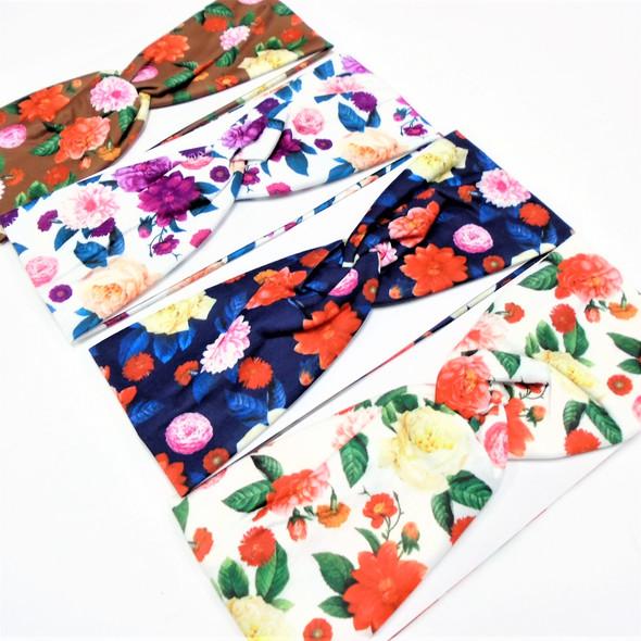 """3"""" Multi Color Flower Print Fashion Stretch Headbands  .58 each"""