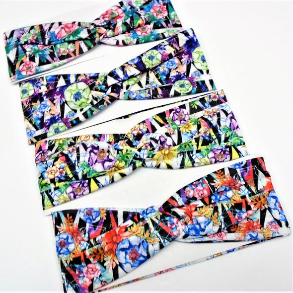 """3"""" Multi Color Flower Print Fashion Stretch Headbands (51)   .58 each"""