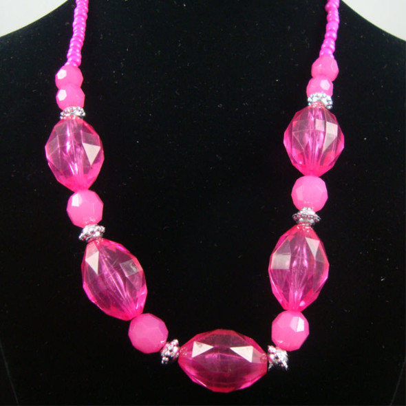 """16"""" Chunky Colored & Frosted Bead Fashion Neck Set .58 per set"""