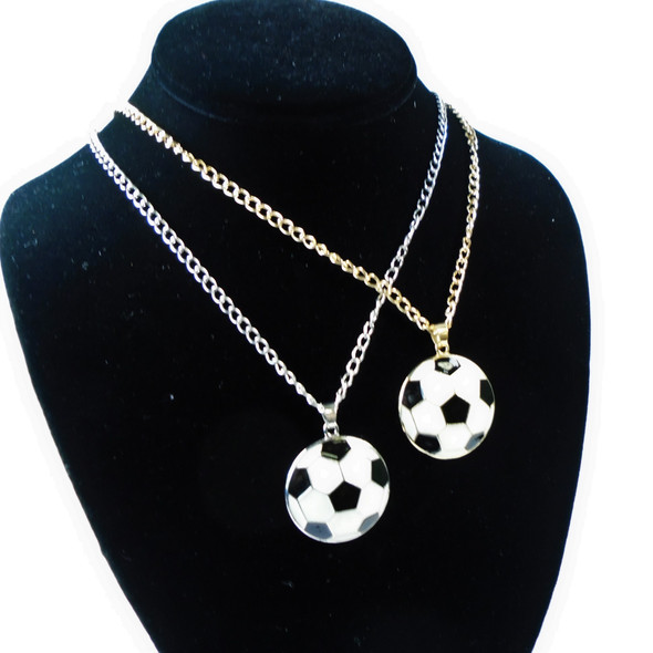 """24"""" Gold & Silver Chain Necklace w/ Soccer Ball Pendant .56 each"""