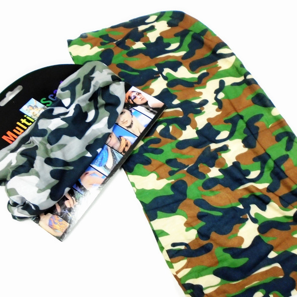 Carded Multifunctional Scarf/Headwear/ Mask 2 Color Camo Mix    .60  ea