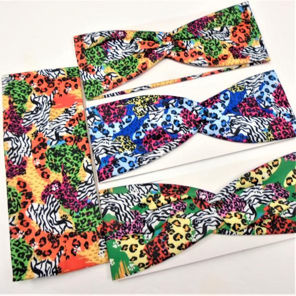 "3"" Wide Multi Color Safari Look Stretch Headbands  12 per pk .58 ea"