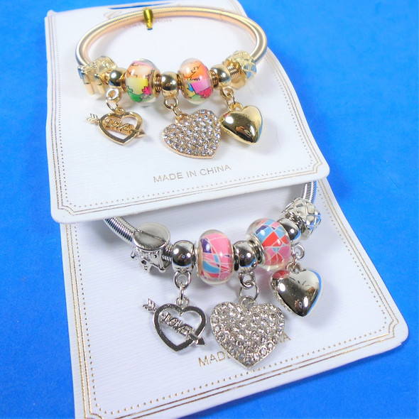 Gold & Silver Spring Style Beaded Bracelet w/ Heart Charms  .60  each