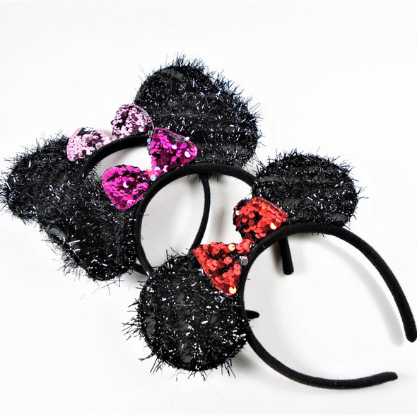 Black Tinsel Mouse Ear Headbands w/  Sequin Bow  .56 each