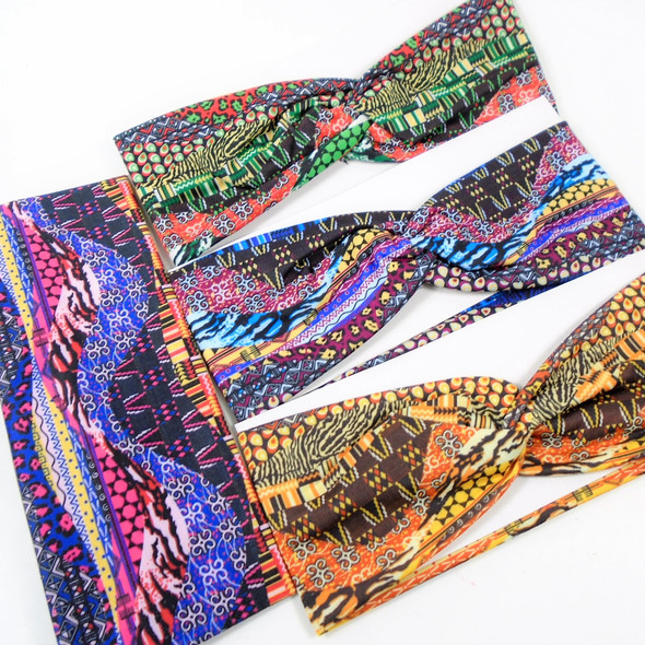"3"" Wide Mixed Fashion Print  Stretch Headbands (1253) 12 per pk .58 ea"