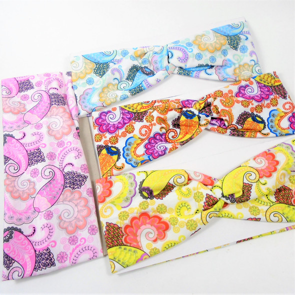 "3"" Wide Mixed Fashion Print  Stretch Headbands (1254) 12 per pk .58 ea"