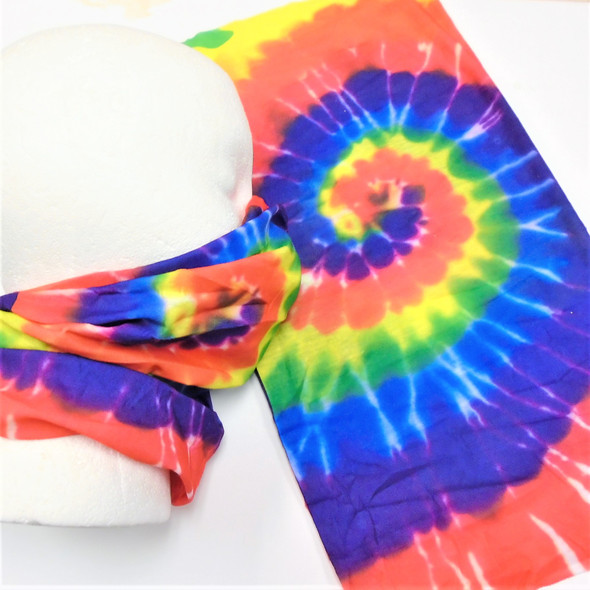 SPECIAL Carded Multifunctional Scarf/Headwear/ Mask Bright Tye Dye  .58  ea