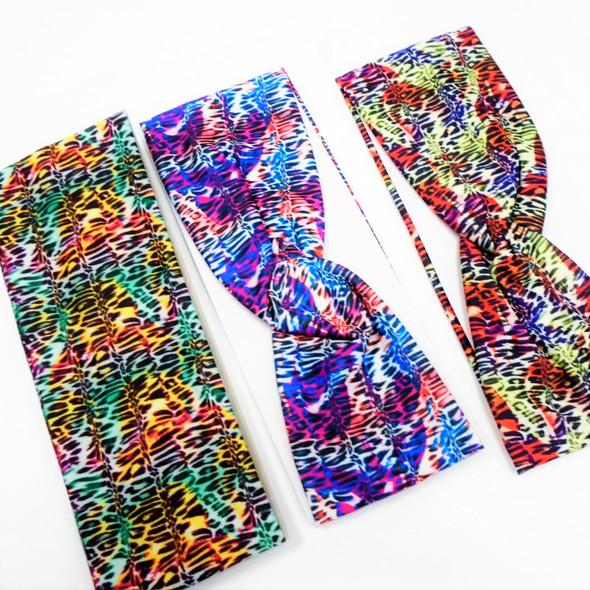 """3"""" Wide Multi Color Safari  Print  Stretch Headbands (94) 12 per pk .58 ea"""