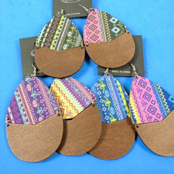 """3"""" Wood Oval Earring 2 Sided Mixed Prints   .54 ea pair"""