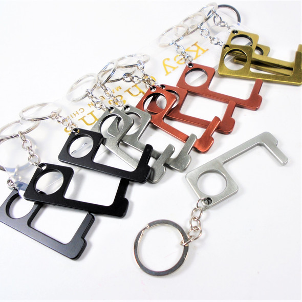 "2.5"" Metal No Touch Key Chain for Personal Safety 12 per pk .58 each"