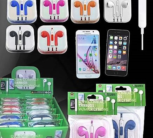 Compact Colorful Earbuds w/ Microphone 12 sets per display bx  $ 1.50 ea