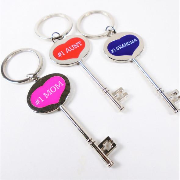 """Key Shaped 3.25""""  #1 MOM,Grandma & Aunt  Silver Keychain w/ Clip  .62 each"""