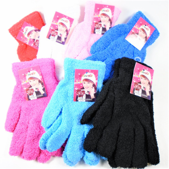 Girls  Fuzzie Winter Gloves  7- Asst Colors  12 pairs per pk .62 ea pair