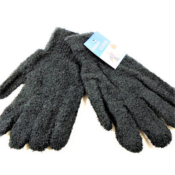 Unisex Fuzzie Winter Gloves All Black 12 pairs per pk .62 ea pair