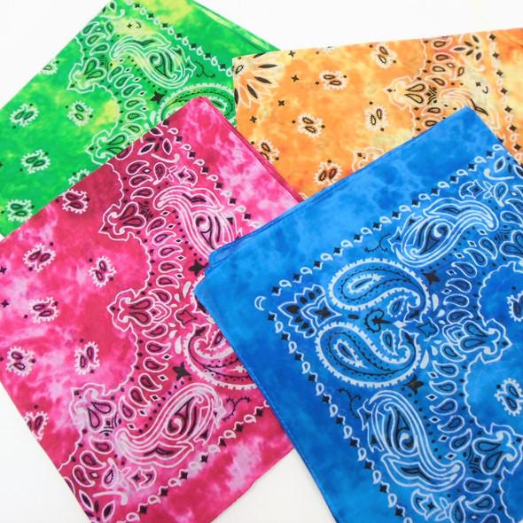 Bandana Stone Washed Tye Dye DBL Sided Printed 100% Cotton .56 ea