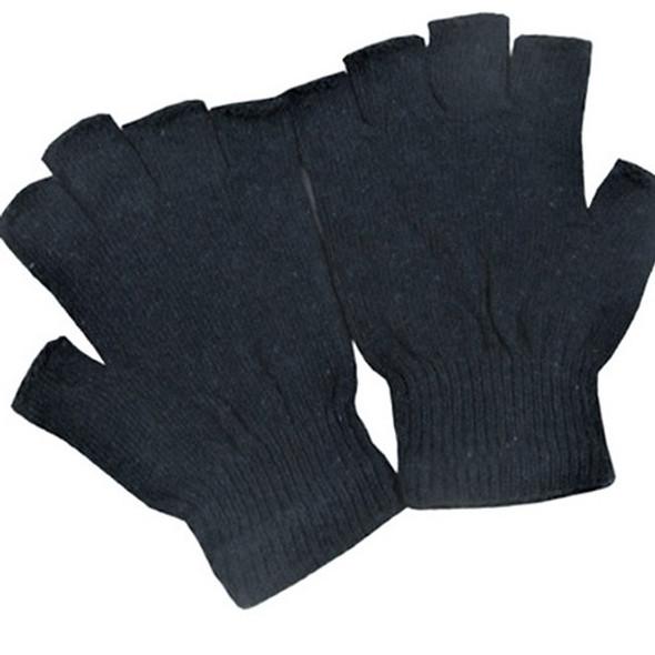 All Black  Kids Size Knit Fingerless Magic Gloves 12 pair pk .60 ea pair