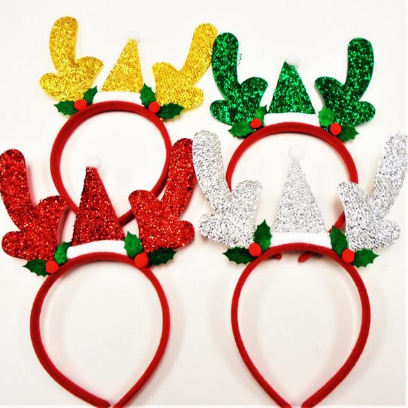 4 Color Christmas Festive  Headband w/ Reindeer Ears & Santa Hat .60 each