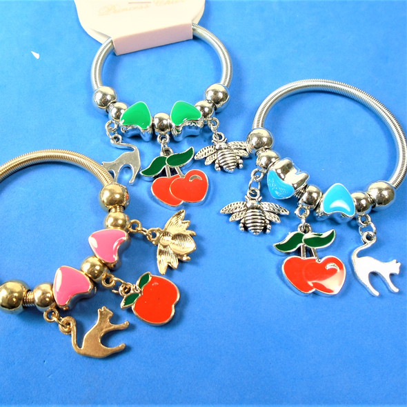 KID'S Mixed Charm Theme Spring Style Fashion Bracelets Silver/Gold .56 each