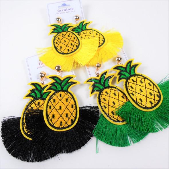 "3"" Cute Pineapple Theme Earrings w/ Fringe Bottom  (1673) .58 per pair"